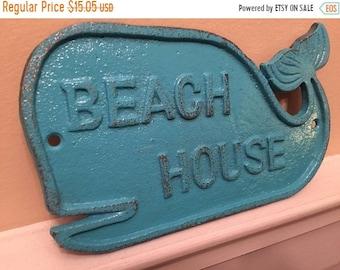 ON SALE, SPRING Sale Whale/ Whale Sign/ Beach House Sign/ Cast Iron Wall Decor/ Beach Decor/ Nautical Decor/ Blue Whale/ Home and Garden