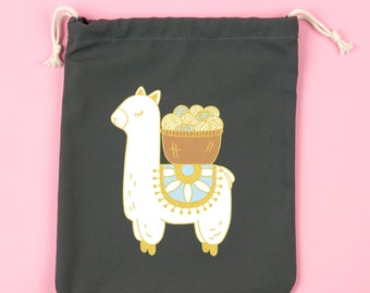 Llama Knitting Bag | knitting project bag, project bag, drawstring bag, knitting gift, sock bag, makeup bag, toiletry bag
