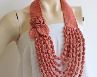 Old Rose Necklace- Rose  Necklace -  Jewelry Scarf-Handmade Loop Scarf - Summer Necklace