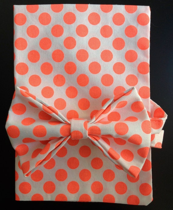 Pocket-Square, Cotton, Neon - Orange,  Polkadots