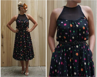 Vintage Silk Bright Floral Summer Dress w/ Illusion Bodice and Matching Scarf & Belt by Geoffrey Beene Part Two   Medium