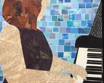 The Pianist - original mixed media collage