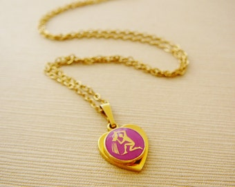 Vintage .. Necklace, Charm, Chain Pink Aquarius Horoscope Goldtone Heart