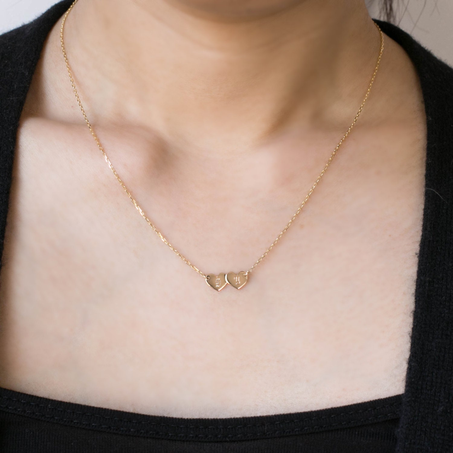 14k Gold Personalized jewelry two initial chain necklace