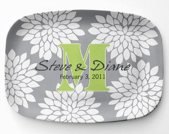 Mums Melamine Platter, Personalized Floral Serving Platter, Melamine Monogrammed Platter, Custom Monogram Serving Tray