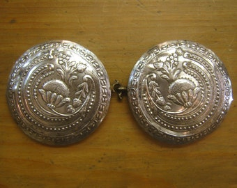"4"" Silver Ottoman Empire Turkish Antique Round Belt Buckle Large"