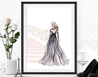Fashion illustration print, Fashion art, girl art, girls room art, fashion print, vanity art, watercolor, girly art - The Golden Staircase