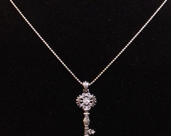 Ornate Silver Key necklace