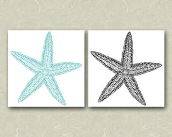 Instant Download - Larger Turquoise & Black Starfish Images With Transparent Background (.png File) - Great For DIY Wedding Invitations