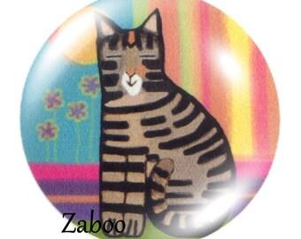 2 cabochons 18mm glass cat