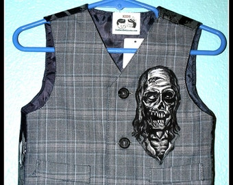 Boys Rockabilly Day of the Dead Zombie Walkers Vest....size 18 months