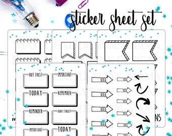 Bullet Journal Stickers Set - Bujo Stickers, Bullet Journal Starter Kit, Bujo Happy Planner Bujo Sticker Set - 5 Sheets of Coloring Stickers