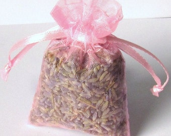 LAVENDER sachets 6 Pack ORGANIC Lavendar in 3x4 PINK color organza bags aromatherapy
