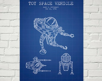 1984 Toy Space Vehicle Patent Wall Art Poster, Home Decor, Gift Idea