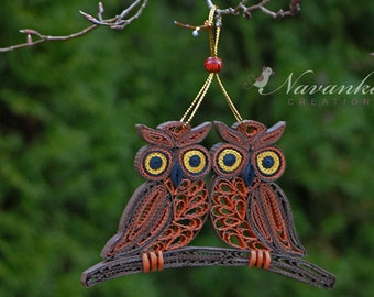 Paper Quilling Owls on a branch in a gift box - OWL love you,  Paper Quilled Owls, Paper Anniversary, Wedding, Christmas, Couple gift, Twins