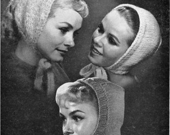 Printable - Five 1960's knitted hat patterns ... crown, pillbox and 3 hoods ... as a PDF file