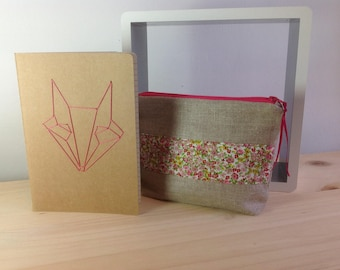 Linen and Liberty pink and embroidered notebook drawing origami Kit