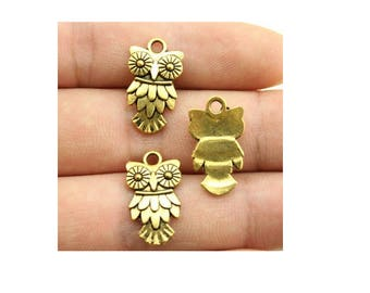 SET of 3 (S46) Gold OWL charm