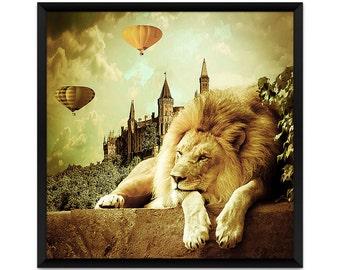 Surreal Art Print, Animal Art Print, Lion Visits the Castle, Fairy Tale Art, Fairytail, Lion Print
