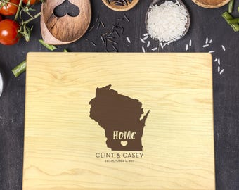 State Cutting Board, Wisconsin Cutting Board, Custom Cutting Board, Last Name Cutting Board, Housewarming Gift, New Home Gift, B-0017