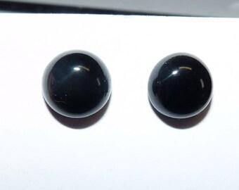 Stud Earrings Black Onyx earrings gemstone semi precious jewelry Black posts sterling silver