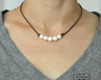 Five pearl leather necklace, pearl necklace, black leather,Five pearl leather necklace,white freshwater pearl leather necklace, pearl choker