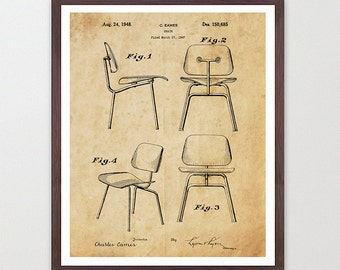 Eames Patent - Eames Chair Patent Poster - Eames Chair - Charles Eames - Charles and Ray Eames - Eames Art - Mid Century Furniture Wall Art