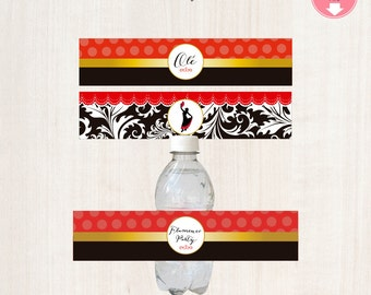 Flamenco Birthday Collection - Water Bottle Labels - Flamenco party Spanish themed Bottle Wrappers, Printed or Printable File