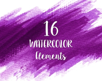 16 Purple Watercolor Splotches, Splatters, Brush Strokes; Purple Watercolor Clip Art, Transparent Background PNG; Watercolor Design Elements