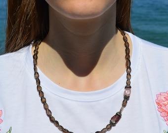 Smoky Quartz Necklace, Tourmaline Necklace, Gemstone Necklace, Gemstone, Natural Stone Necklace, Art Nouveau Jewelry, Beaded Necklace