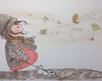 The little girl and boy and autumn wind. Watercolor 25 x 17