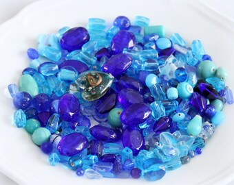 Blue Bead Mix Glass - Mix Craft Supplies - Jewelry Supplies - Bead Supplies - Loose Bead - Lot Jewelry Making - Mix Shapes and Sizes
