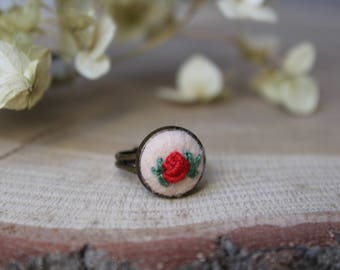 Red Rose ring,Hand Embroidered,Adjustable Floral Ring,Statement Ring, Bridesmaid gift, Flower ring, Mothers Day, Promise gift for girlfriend