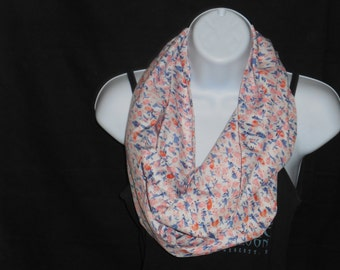 White with Pink and Blue Floral Print Infinity Scarf