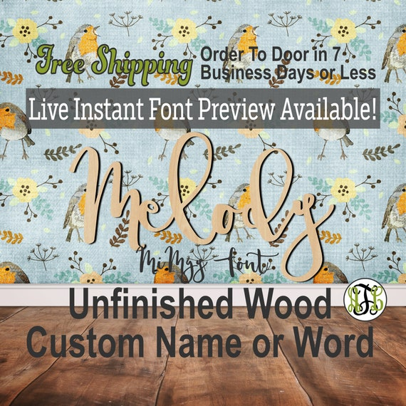 MiMgy Font Custom Name or Word Sign, Cursive, Connected, wood cut out, wood cutout, wooden, Nursery, Wedding, Birthday, name sign, Script