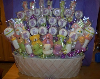 """Custom listing 50 Pc. """"Welcome Baby Eladia"""" Baby Candy Bouquet"""
