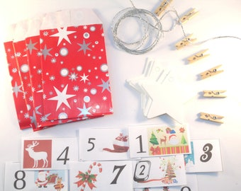 DIY Kit the Christmas red silver advent calendar