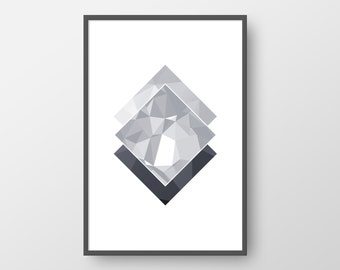 Printable Geometric Art, Nordic Poster, Geometric Print, Scandinavian Print, Grey Geometric Wall Art, Minimalist Print, INSTANT DOWNLOAD
