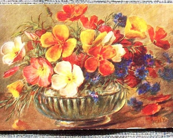 Unusual (possibly) Hand Made Flowers  Greetings Card (Used)