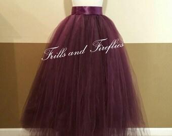 Plum Tulle Skirt/Maxi Skirt/Flower Girl/Skirt/Wedding Skirt/Skirts for Women/Dance/Ball Gown/Bridesmaid/Wedding/Bridal Skirt/Christmas Gift