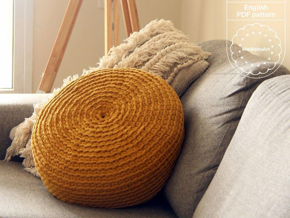 Crochet No Holes Pouf Cover Diy Crochet Pattern Pdf Crochet Pouf