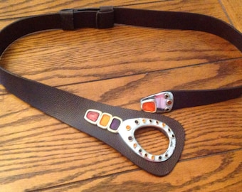 Vintage 1970's/80'sLeather Belt  with colorful stones  in Silver and Gold  Buckle by Checo's