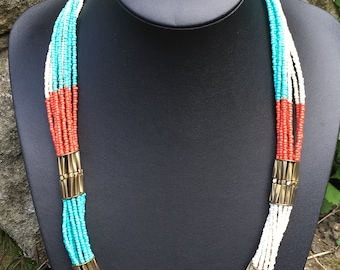 Beaded Necklace, Tribal Necklace, Statement Necklace, Necklaces for women , Multi layer Necklace, Multi color Necklace, Long necklace