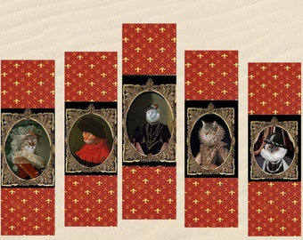 set of 5 bookmarks with costumed cats: our royalty