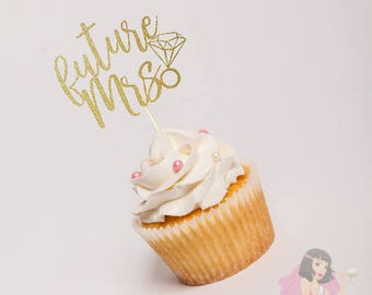 Hens Night Bachelorette Cupcake Toppers Future Mrs GOLD