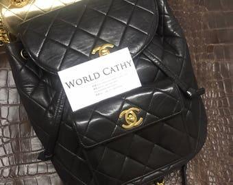 chanel vintage black gold duma backpack M size