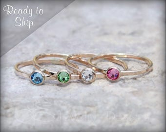 GOLD BIRTHSTONE STACKING ring - ready to ship - size 6.5 (6 1/2) - size 10 - size 4.5 ( 4 1/2) - size 5.25 (5 1/4)