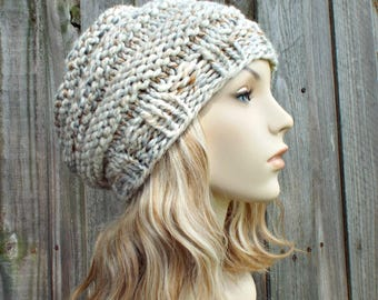 Mixed Neutrals Womens Knit Hat - Original Beehive Beret in Fossil - Warm Winter Hat - READY TO SHIP
