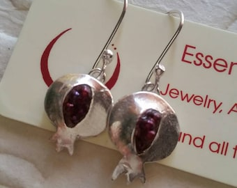 Handmade Fine Silver Pomegranate Earrings - #4