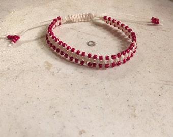 Cream Bracelet - Red Seed Beads - Macrame Jewelry - Adjustable Jewellery - Fashion - Trendy - Beaded - Linen Cord